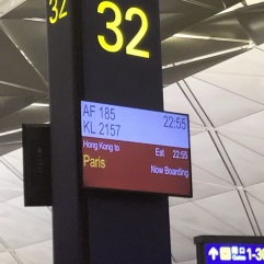 We waited in HongKong for about three hours, then boarded our plane to Paris.