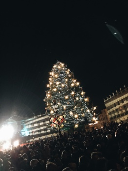 A big Christmas tree at the Place Stanislas