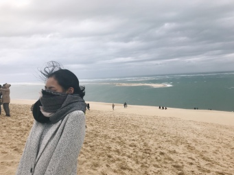 Had to shield my face from the wind!